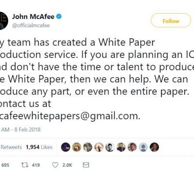 John McAfee Announces New Business Through Twitter