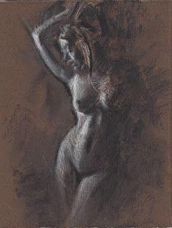 Standing female nude undressing original drawing