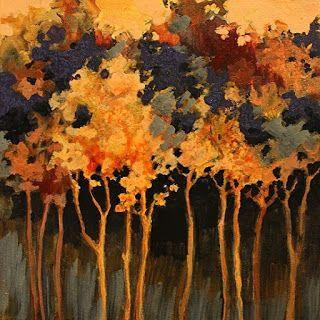 """SUMMER SALE- Abstract Landscape Tree Art Painting """"Twilight Poem"""" by Colorado Mixed Media Abstract Artist Carol Nelson"""