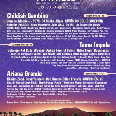 Coachella reveals 2019 lineup: Childish Gambino, Ariana Grande, Tame Impala, Aphex Twin lead the way