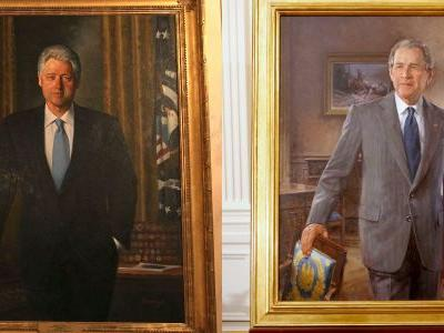 Biden has put portraits of Clinton and Bush back on display in the White House after Trump removed them