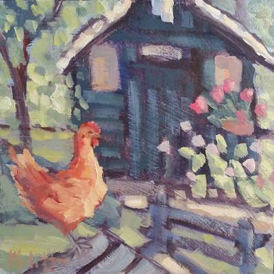 Chicken Garden Shed Artwork Original Oil Painting Heidi Malott