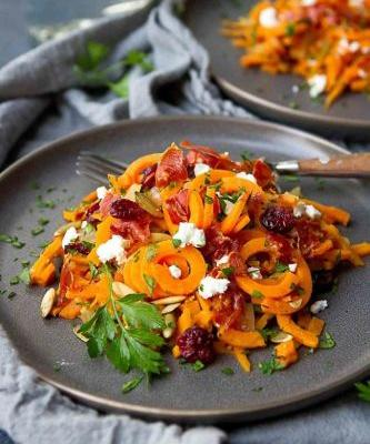 Autumn Sweet Potato Noodles with Prosciutto & Cranberries