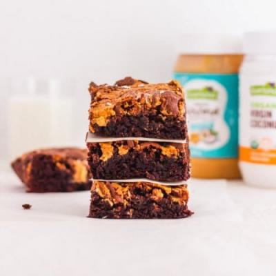 Coconut PB Chocolate Brownies