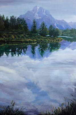 "Western Landscape Fine Art Painting, Mount Moran ""A Mirror For Moran"" by Colorado Artist Nancee Jean Busse, Painter of the American West"