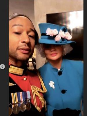 The Photos Of Chrissy Teigen & John Legend's The Queen & Prince Philip Costume Are Regal AF