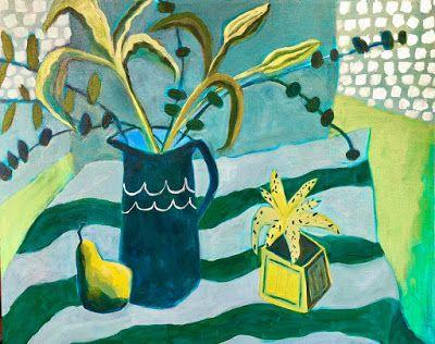 "Contemporary Expressionist Still Life Flower Art Painting ""Lilies Green & Blue"" by Santa Fe Artist Annie O'Brien Gonzales"