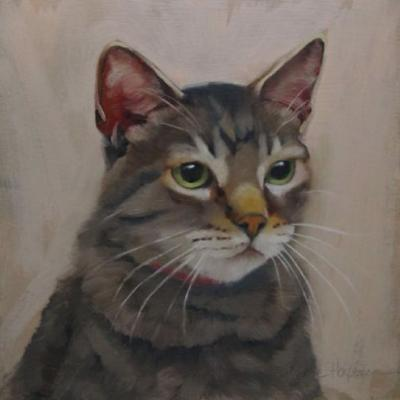 Tiger Takes a Moment, painting of tabby cat