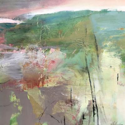 """Abstract Mixed Media Abstract Landscape Painting """"SPRINGTIME PRAIRIE"""" by Intuitive Artist Joan Fullerton"""