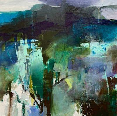 "Contemporary Art, Abstract Landscape Painting, Fine Art for Sale ""Toward the Mountain"" by Intuitive Artist Joan Fullerton"