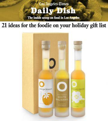 O Blossom Vinegar Trio featured in the LA Times Holiday Gift Section