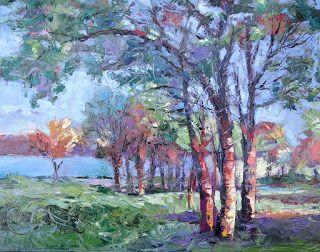 Lake Texoma Trees, New Contemporary Landscape Painting by Sheri Jones