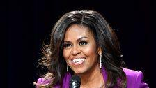 Michelle Obama's Purple Suit And Sequined Bustier Are A Showstopping Combo