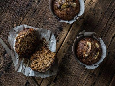 Fragrant Roasted Banana Muffins