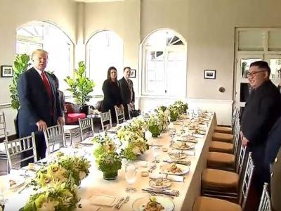 Trump and Kim tucked into fried rice with XO sauce and ice cream during their working lunch