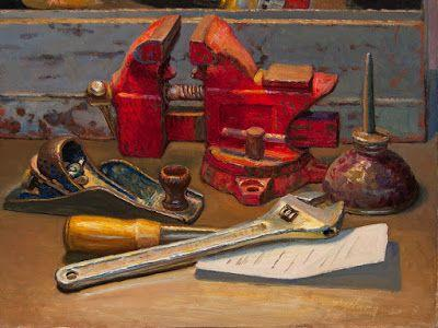 Still life oil painting vise plane chisel wrench
