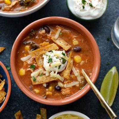 Slow Cooker Chicken Tortilla Soup with Kale