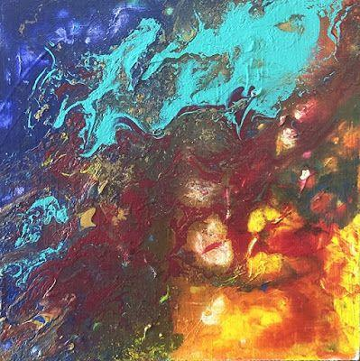 """Contemporary Art, Fluid Abstract Painting """"CONFUSION IN THE SKY"""" by Colorado Artist Susan Fowler"""