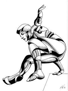 Mark Webster - Dave 25.03 - Abstract Geometric Futurist Figurative Ink Drawing