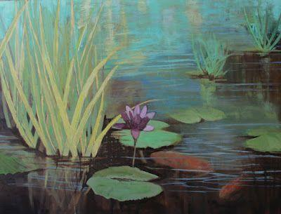 """Lily Pond, Fine Art Oil Painting """"THE POND"""" by Colorado Artist Susan Fowler"""