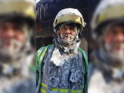 This is what it looks like after you've fought a fire in a wind chill of minus 50