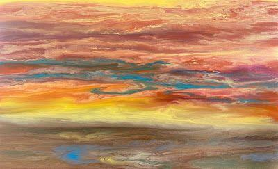 """Abstract Landscape, Sunset Painting, Contemporary Landscape """"Reflecting a Blazing Sky III"""" by International Contemporary Artist Kimberly Conrad"""