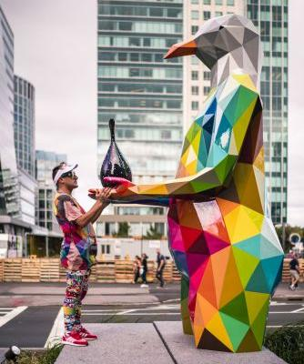 Air Sea Land: Okuda's Largest Public Art Project Brings Colorful Sculptures to the Streets of Boston