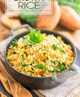 Brown Rice with Sweet Potatoes and Kale
