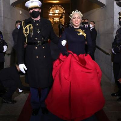 Lady Gaga's Inauguration Look Is A Symbol Of Hope - & Reminiscent Of The Hunger Games