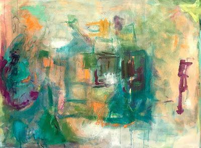 "Abstract Art,Contemporary Painting, Expressionism, ""Musical Chairs"" by Oklahoma Artist Nancy Junkin"
