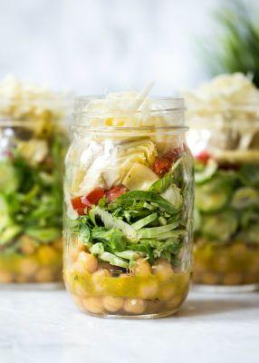 Brussels and Chickpea Salad in a Jar with Artichokes, Sun Dried Tomatoes and Asiago
