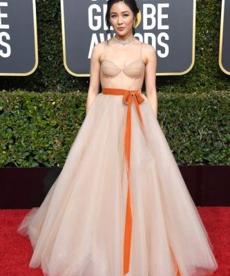 Constance Wu Stuns in Tulle Ball Gown on 2019 Golden Globes Red Carpet