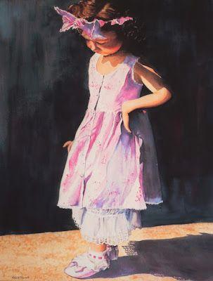 I Have a Little Shadow, Watercolor Print, Painting of Child in Pink