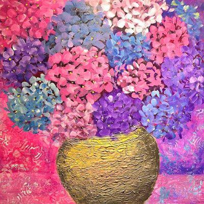 "Expressive Still Live Floral Painting, Colorful Original Flower Art, ""Happy Hydrangea"" by Texas Contemporary Artist Jill Haglund"