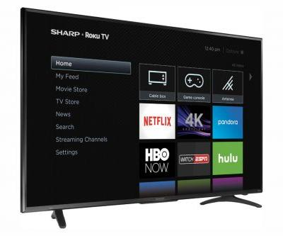 This Sharp 55-inch 4K HDR TV with Roku built in is down to just $300 today