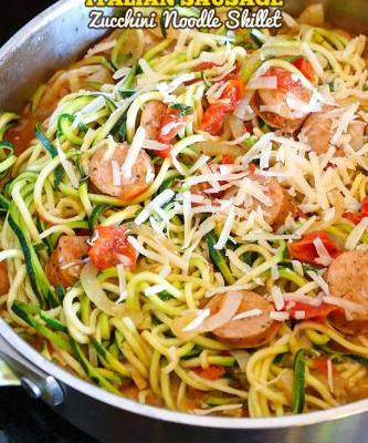 10-Minute Italian Zucchini Noodle Skillet with Sausage