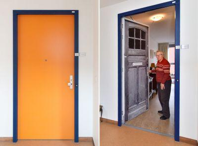 These stickers recreate old doors to help people with dementia feel more at home