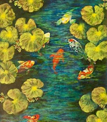 "Water Painting, Fish, Koi,""Cool Water Sanctuary"" Florida Impressionism Artist Annie St Martin"