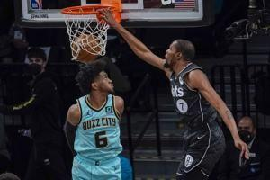 Durant, Harris lead Nets to 130-115 win over Hornets