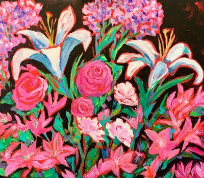 """Expressive Still Life Floral Painting, Colorful Original Flower Art, """"LILIES IN THE MOONLIGHT"""" by Texas Contemporary Artist Jill Haglund"""