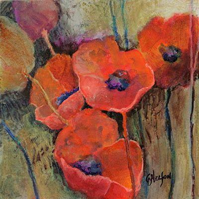 """Contemporary Botanical Painting, Poppy, Flowers, Poppies, """"SIMPATICO II"""" by International Mixed Media Abstract Artist Carol Nelson"""