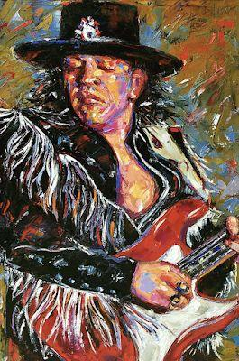 "Palette Knife Musician Art Portrait Oil Painting, Stevie Ray Vaughn ""Fringe"" by Texas Artist Debra Hurd"