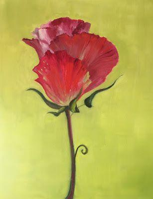 """Large Realistic Floral Painting, """"Red & Green,"""" by Amy Whitehouse"""