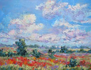 Wild Flower Field, New Contemporary Landscape Painting by Sheri Jones