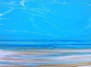 """Contemporary Seascape Abstract Beach Art Coastal Art Painting """"A Beautiful Day at the Beach"""" by International Contemporary Landscape Artist Kimberly Conrad"""