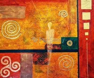 "Original Contemporary Abstract Mixed Media Mystical Figure, Circles Art Painting ""DESERT SPIRIT"" by Contemporary Arizona Artist Pat Stacy"