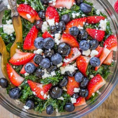 Summer Kale Salad with Berries