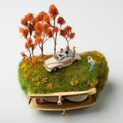 Miniature Figures Top Coin Purses, Makeup Compacts, and Teapots in Lush Narrative Scenes by Kendal Murray