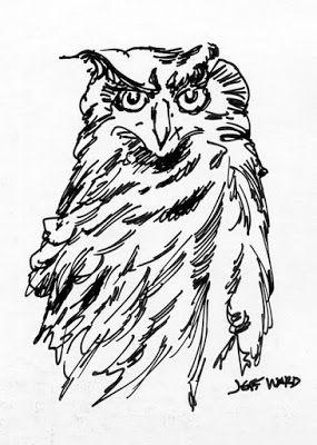 Owl Pen and Ink Drawing ACEO
