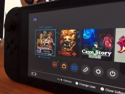 Switch UI close up, Cave Story and 1001 Spikes ports shown in hastily-deleted publisher tweet